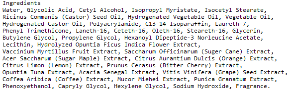 Serious Skin Care Glycolic Acid Face Cream Ingredients