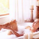 using exfoliating body scrub in bath